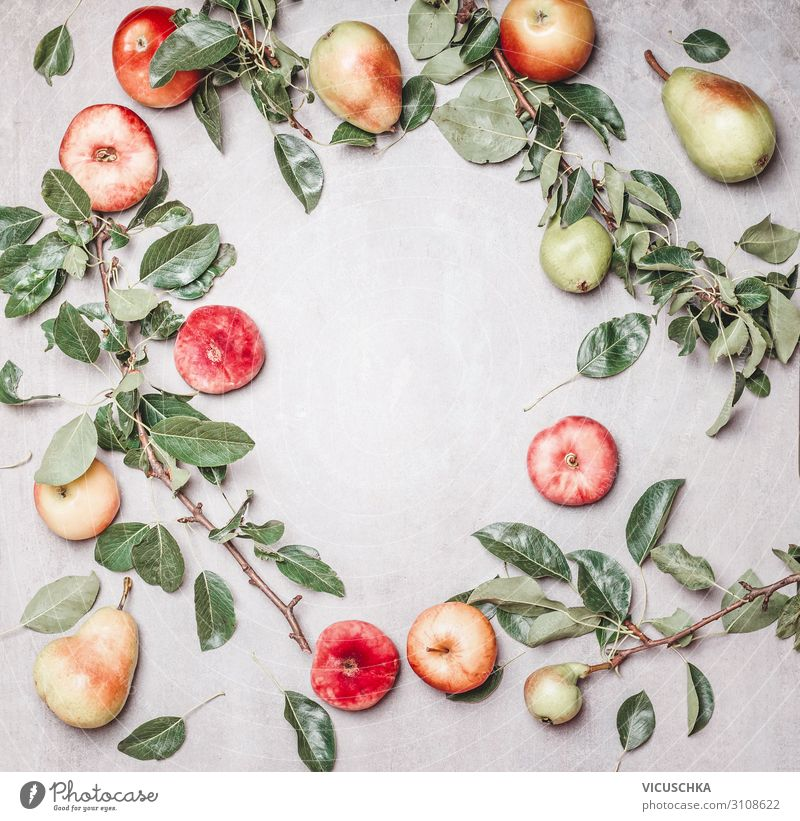 Seasonal garden fruit background Food Fruit Apple Organic produce Vegetarian diet Diet Shopping Design Healthy Healthy Eating Nature Background picture Pear