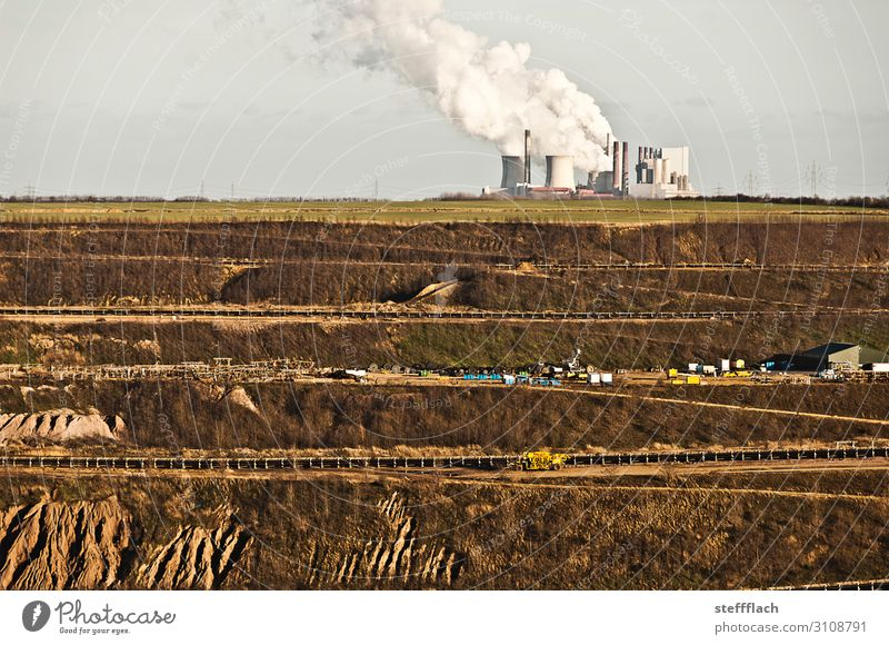 On the edge of the abyss Factory Energy industry Renewable energy Landscape Earth Cloudless sky Clouds Field Canyon Garzweiler Soft coal mining Broken Gloomy