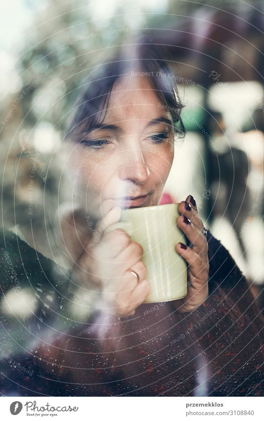 Portrait of woman drinking a coffee. Real people, authentic situations Drinking Coffee Tea Relaxation Young woman Youth (Young adults) Woman Adults 1