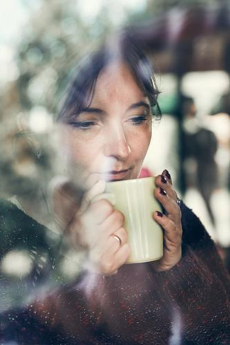 Portrait of woman drinking a coffee Woman Human being Youth (Young adults) Young woman Relaxation Joy Adults Autumn Coffee Drinking Hot Tea 30 - 45 years