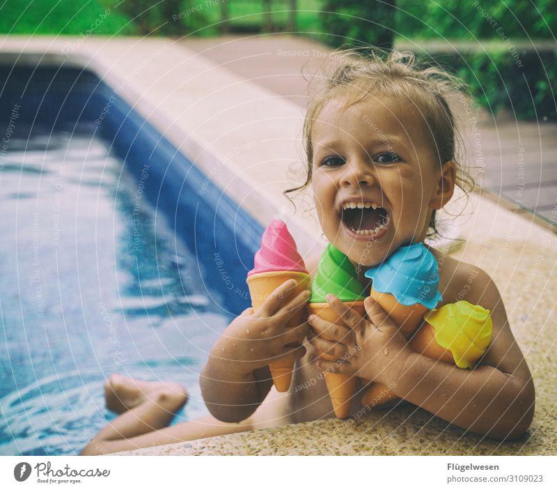 Ice cream baby ice cream Express train Ice-cream cone Soft ice cream Sphere Water Swimming pool Hotel Summer Vacation & Travel Girl Joy Laughter Child Infancy