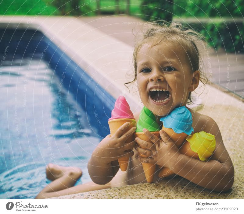 There's ice cream! Ice Ice cream Express train Ice-cream cone Soft ice cream Sphere Water Swimming pool Hotel Summer Vacation & Travel Girl Joy Laughter Child