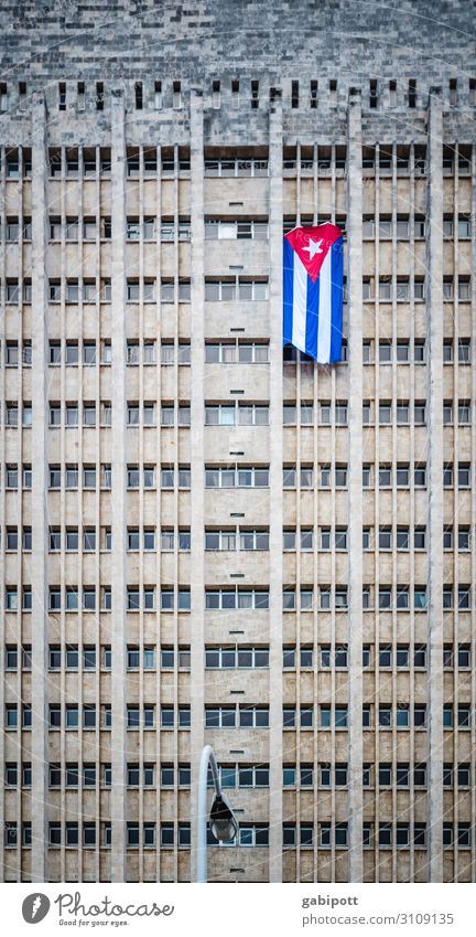 Cuban flag on high-rise building in Havana Travel photography Vacation & Travel Deserted Wanderlust City House (Residential Structure) Flag Socialism