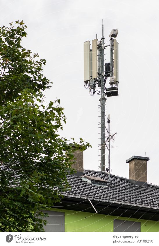 5G antennas on top of house. Antennas and transmitters Industry Telecommunications Telephone Cellphone Technology Internet Aircraft Line Communicate 5g 4g roof