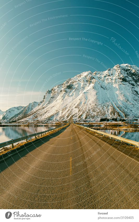 lonely road in winter, lofoten - norway Vacation & Travel Tourism Trip Adventure Winter Snow Mountain Nature Landscape Earth Clouds Climate Hill Lake Places