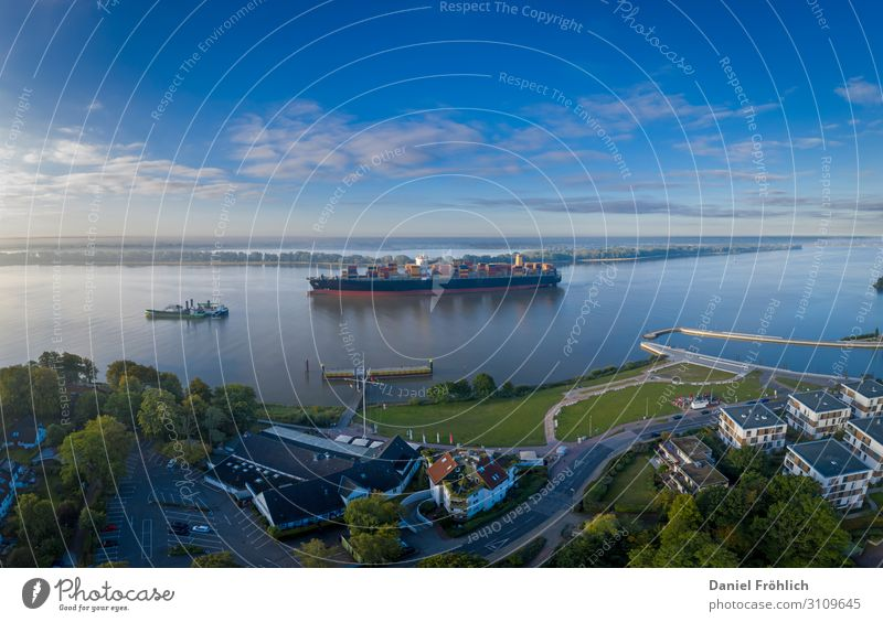 Aerial view of Wedel with container ship Living or residing Flat (apartment) Hamburg Germany Europe Navigation Cruise Boating trip Cruise liner Container ship