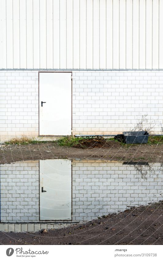 White Facade Door Arrangement Perspective Ground Puddle Decide