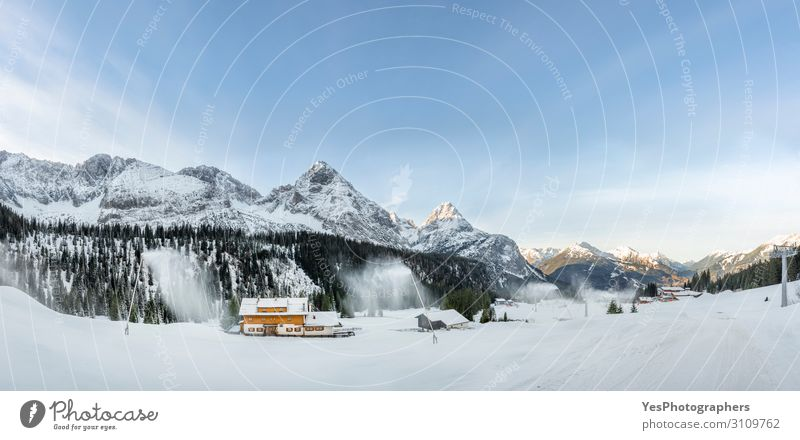 Winter panorama with snowy mountains and snow-covered road Snow Mountain Nature Climate change Weather Alps Peak Street White Austrian Alps Ehrwald Alpine