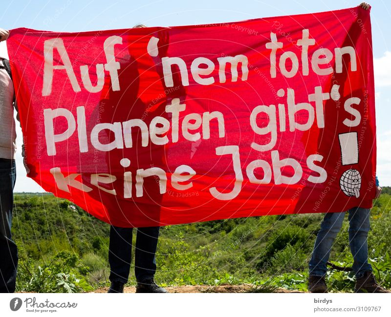 Protest against lignite and other climate killers Energy industry Coal power station Masculine Feminine 3 Human being Cloudless sky Climate Climate change Field