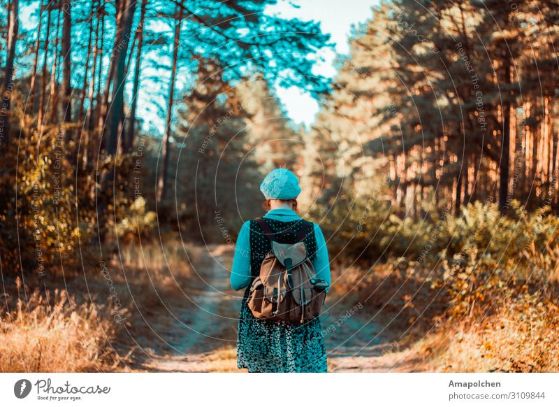 Woman Human being Vacation & Travel Nature Summer Landscape Relaxation Calm Forest Far-off places Mountain Adults Life Autumn Environment Feminine
