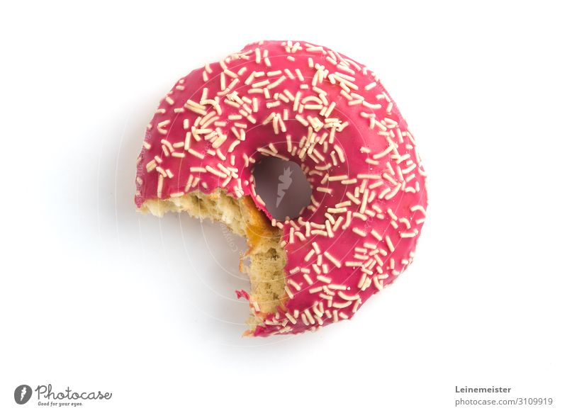 bite donut Food Dough Baked goods Cake Candy Donut Sugar streusels Nutrition Eating To enjoy Sweet Pink Bite bitten into White Colour photo Interior shot