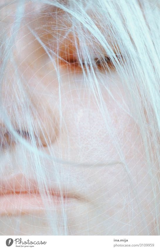 _ Human being Feminine Young woman Youth (Young adults) Woman Adults Female senior Life Hair and hairstyles White-haired Freeze Sleep Cold Self-confident Calm