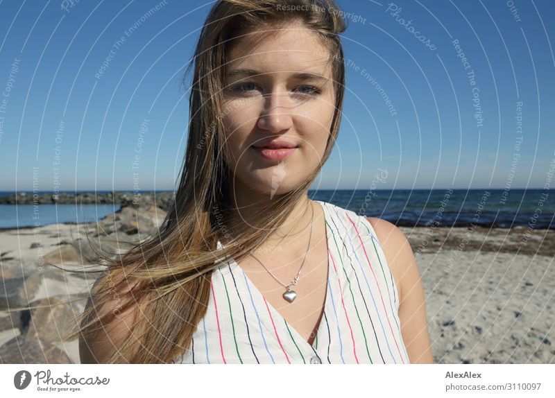 Portrait of a young woman on the beach Elegant Style already Wellness Life Summer Summer vacation Sun Sunbathing Beach Ocean Young woman Youth (Young adults)
