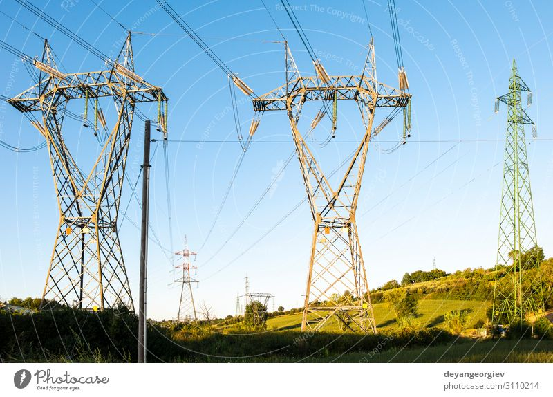 High voltage transmission lines. Landscape Architecture Environment Metal Technology Energy Industry Electricity Dusk Generation Height Station