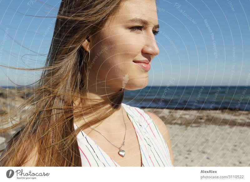 Portrait of a young woman on the beach Elegant Style already Life Well-being Summer Summer vacation Sun Sunbathing Beach Ocean Young woman Youth (Young adults)