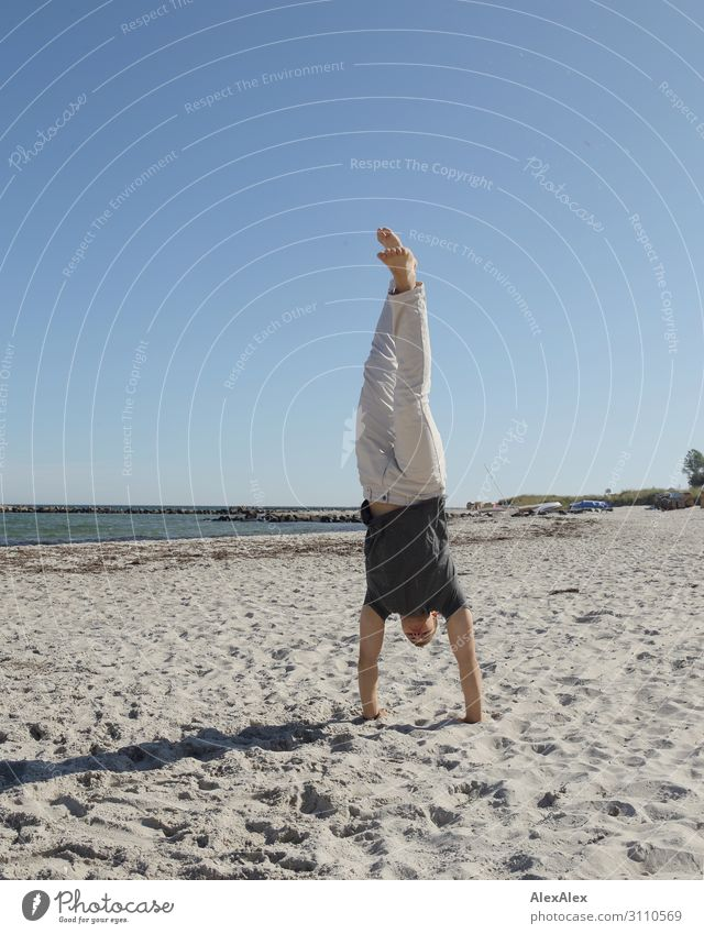 Young man makes handstand at Baltic Sea beach Lifestyle Joy Athletic Fitness Summer Summer vacation Beach Ocean Track and Field Handstand Youth (Young adults)