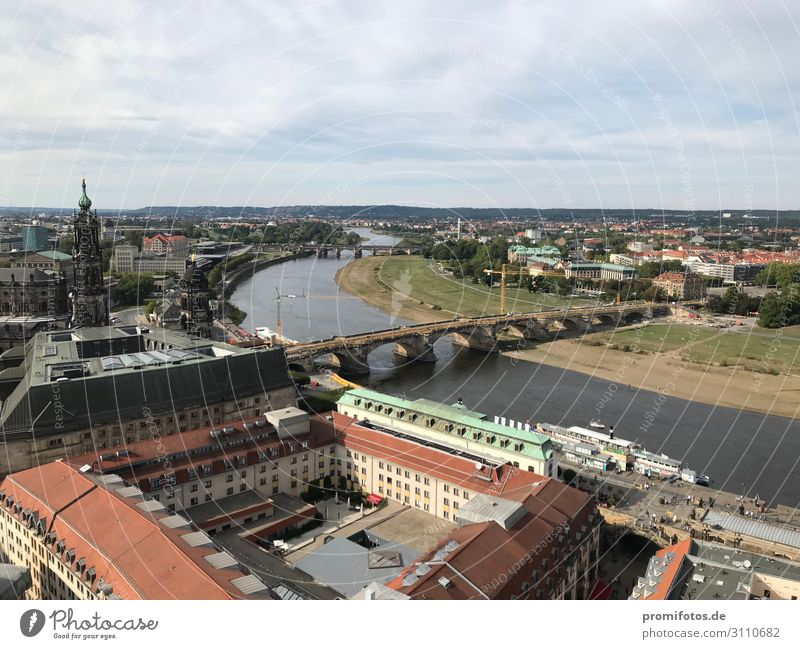Dresden: View from the Frauenkirche to the August Bridge and the Elbe River Vacation & Travel Tourism Trip Sightseeing City trip Town Old town