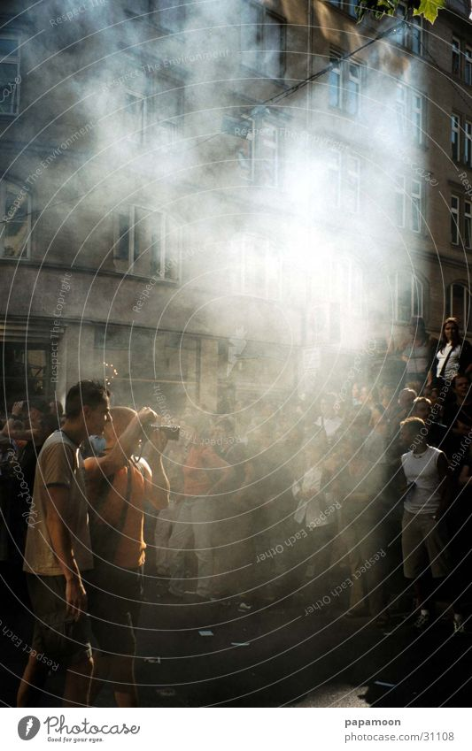the fog Fog Street party Photographer Visitor Group Feasts & Celebrations Smoke Camera Exterior shot