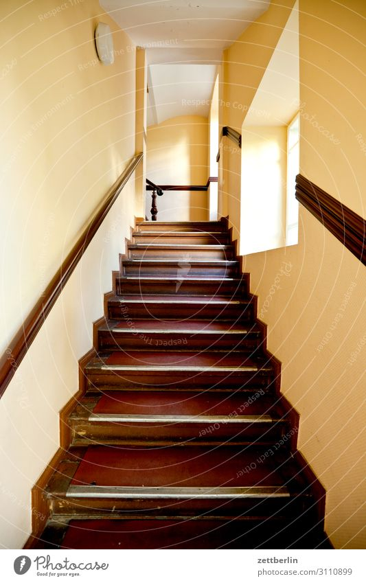 Stairs in the old building Landing Descent Downward Go up Upward Window Handrail Banister House (Residential Structure) Apartment house Deserted