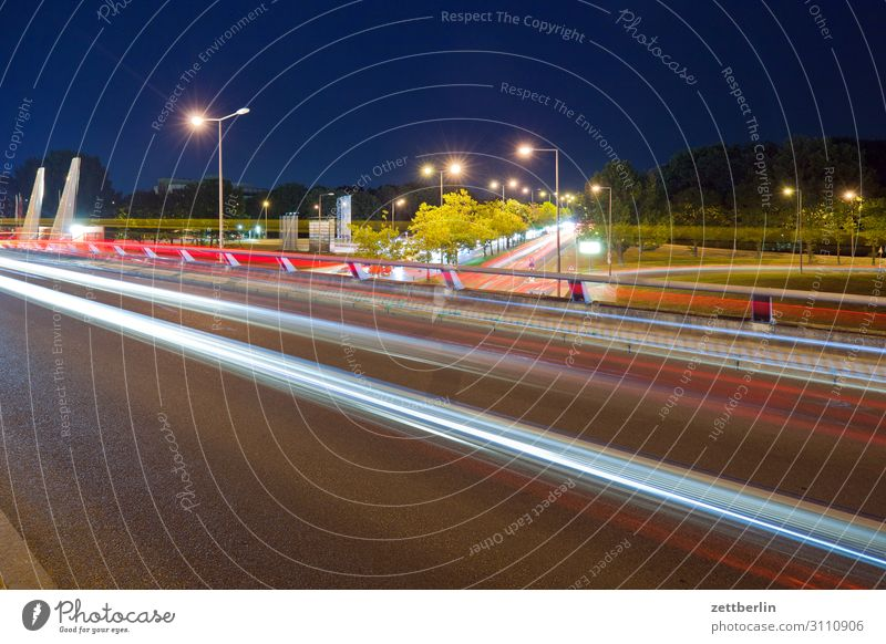 Road traffic at night Evening Movement blink Multicoloured Dark Dynamics Fantasy Glittering Airport Art Light Visual spectacle Light writing Light painting