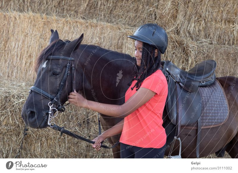 Beautiful teenager with his horse learning to ride Lifestyle Happy Leisure and hobbies Vacation & Travel Summer Child School Woman Adults Friendship Landscape