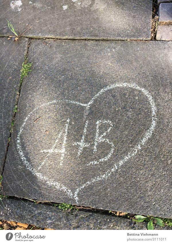 Love painted on asphalt Joy Harmonious Valentine's Day Wedding Couple Life Footpath Stone Sign Characters Graffiti Together Happy Gray White Emotions Moody
