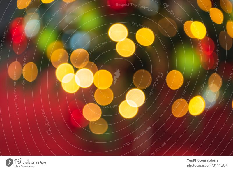 Christmas lights bokeh background. Defocused Xmas backdrop Happy Decoration Feasts & Celebrations Christmas & Advent New Year's Eve Ornament Bright Yellow Green