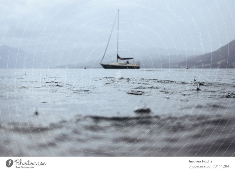 Stormy sea Leisure and hobbies Aquatics Nature Landscape Water Drops of water Storm clouds Summer Rain Thunder and lightning Waves Lakeside Lake Attersee