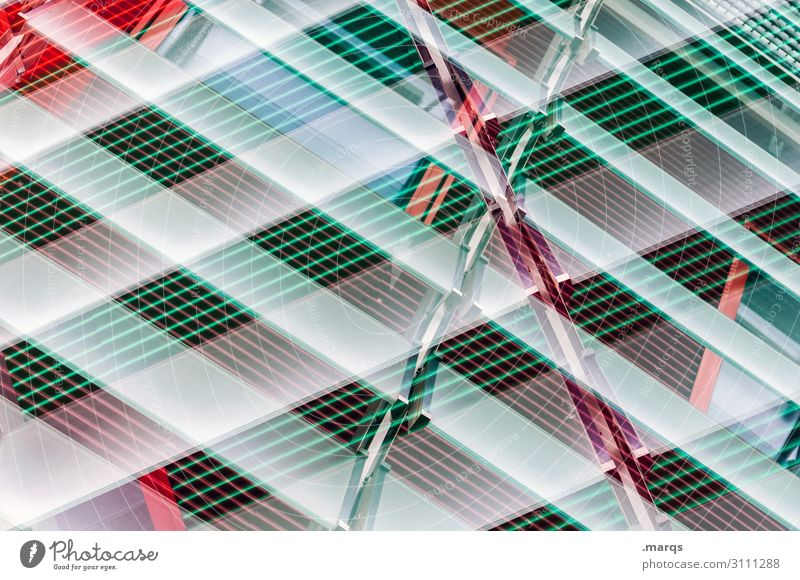 slats Disk Screening Venetian blinds Metal Plastic Line Stripe Abstract Double exposure criss-cross green Red White New building Facade Modern