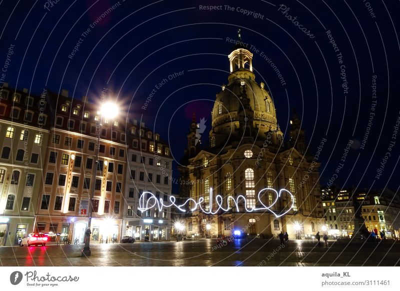 """Frauenkirche at night with the word """"Dresden"""" written in the air- Dresden Church of Our Lady dresden at night neon sign Evening Town Saxony"""