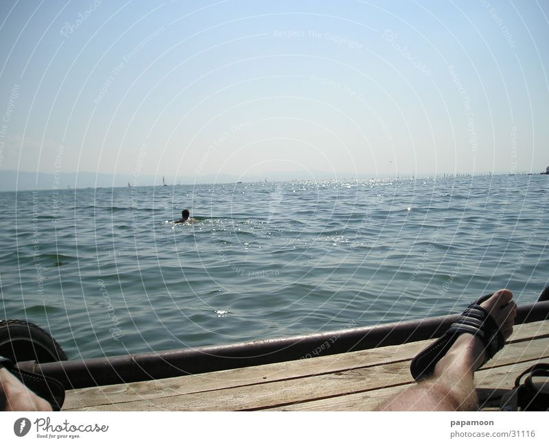 lazy in the sun Lake Footbridge Swimmer (professional sportsman) Waves Lake Constance Sun breeze Swimming & Bathing