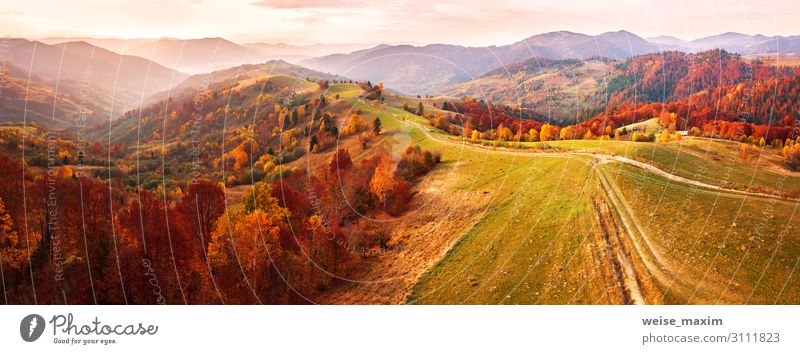 Autumn mountain panorama. Dirt road on top of hills. Beautiful Vacation & Travel Tourism Trip Far-off places Freedom Mountain Wallpaper Environment Nature