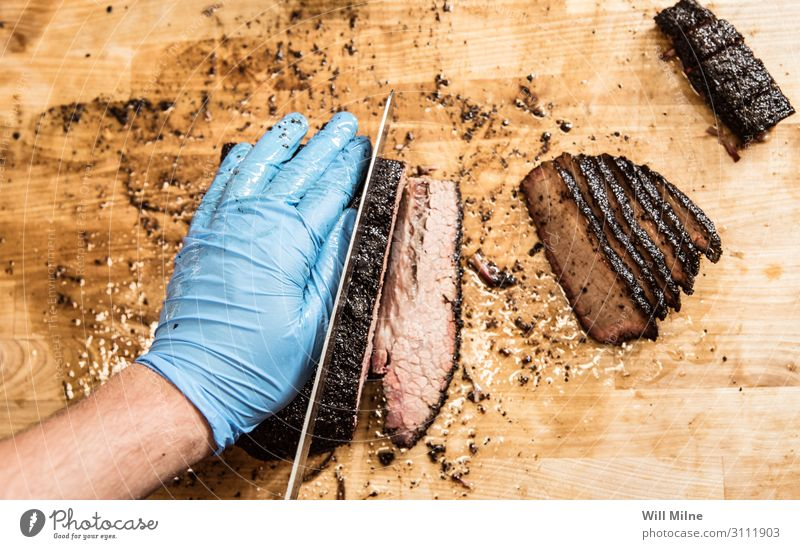 Cutting Barbecued Brisket Barbecue (apparatus) Barbecue (event) BBQ Smoked Meat Slice Cutting tool Chopping board Cooking Restaurant Hand Knives Table-knife