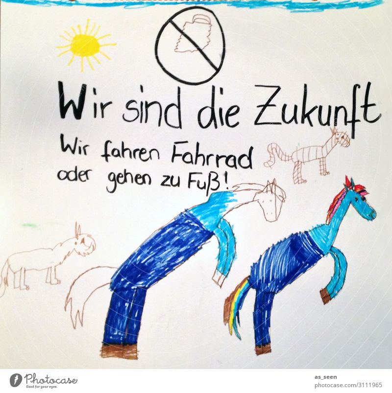 Fridays fpr Future Art Children's drawing Environment Nature Climate Climate change Animal Horse Paper Walking Authentic Uniqueness Cute Blue White Emotions