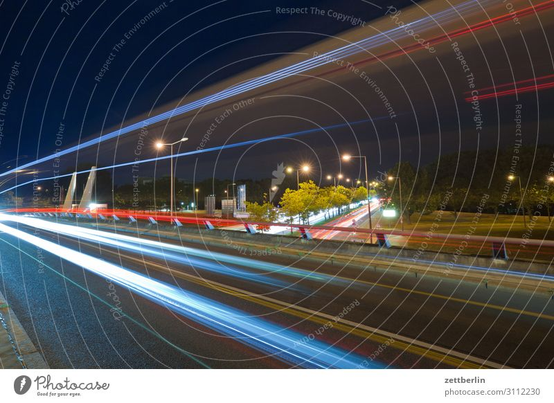 Road traffic, at night Evening Movement blink Multicoloured Dark Dynamics Fantasy Glittering Airport Art Light Visual spectacle Light painting Light show Line