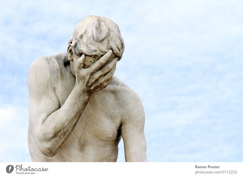 Facepalm - Statue holds a hand in front of the face Man Adults Sculpture Paris Monument Cry Pain Disappointment Horror Disbelief Aggravation Embitterment