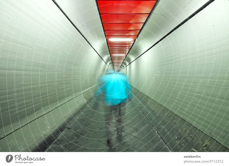 Man in tunnel (3) Movement Dark Dynamics Human being Night Airport Berlin-Tegel Tunnel Corridor Hall Warehouse Passage Escape Perspective Central perspective