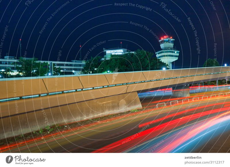 Tower Tegel Evening Movement blink Multicoloured Dark Dynamics Fantasy Glittering Airport Art Light Visual spectacle Light painting Light show Line Fairy tale