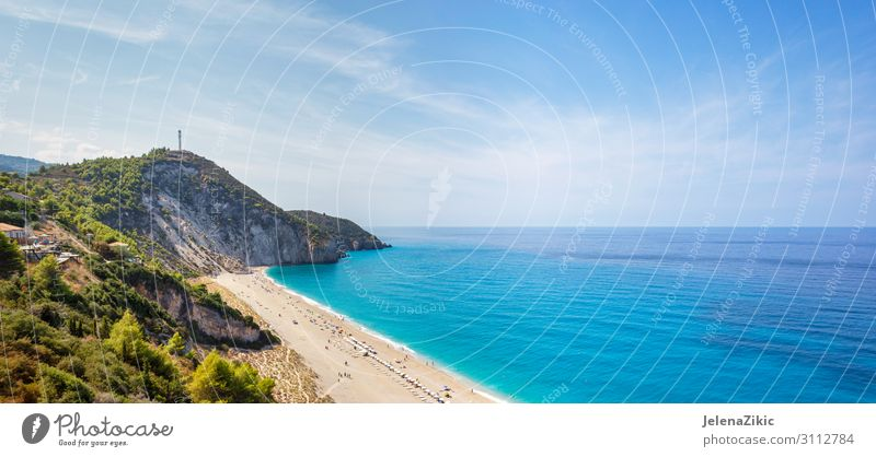 Milos beach on Lefkada island, Greece Sky Vacation & Travel Nature Summer Blue Water Landscape Ocean Beach Mountain Coast Tourism Freedom Rock Sand Trip