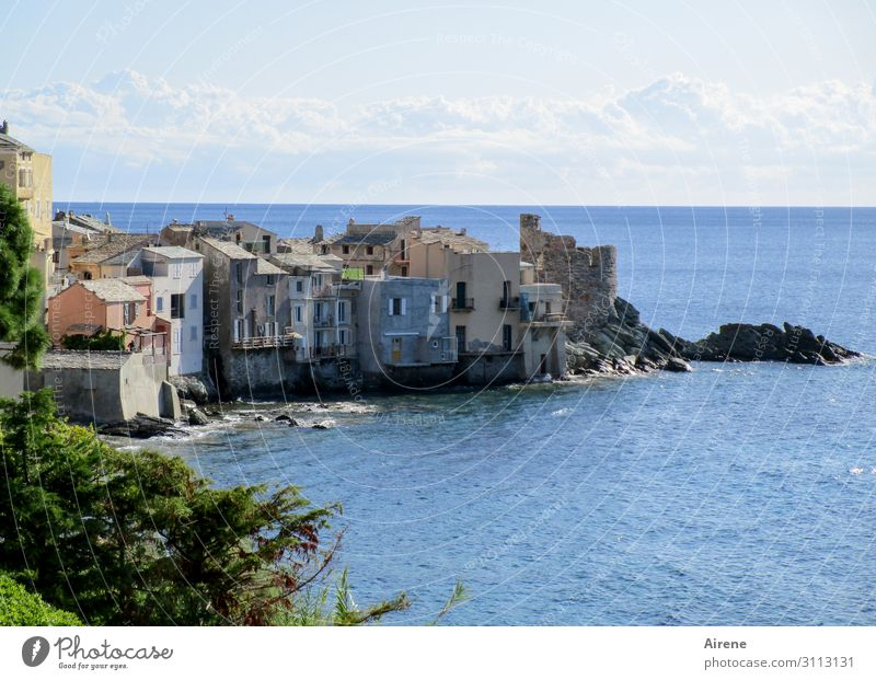 Village, Corsican Summer vacation Sky Beautiful weather Bay Ocean Mediterranean sea Island Fishing village Old town House (Residential Structure) Castle Ruin