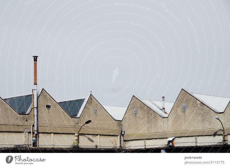 shed Architecture GDR Cloudless sky Climate change Lichtenberg Factory Facade Chimney Gable roof Corner Authentic Sharp-edged Hideous Retro Gloomy Gray Moody