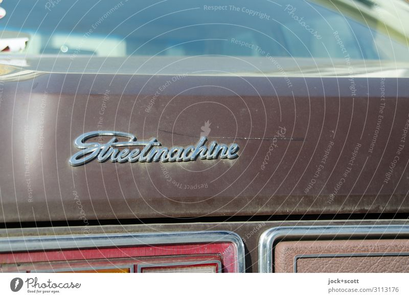 Street Machine Style Means of transport Vintage car Collector's item Trunk Lettering Tailgate Car Window Car paint Word English Authentic Original Retro Brown