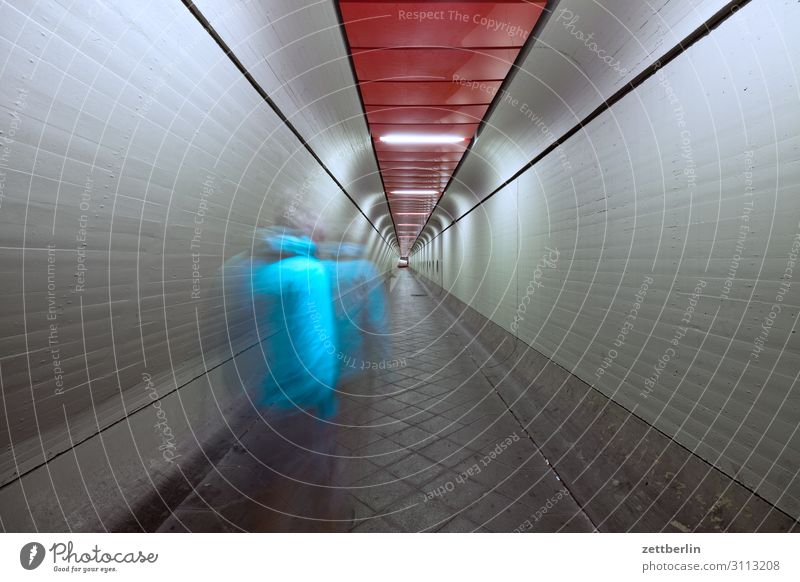 Man in tunnel (1) Movement Dark Dynamics Human being Night Airport Berlin-Tegel Tunnel Corridor Hall Warehouse Passage Escape Perspective Central perspective