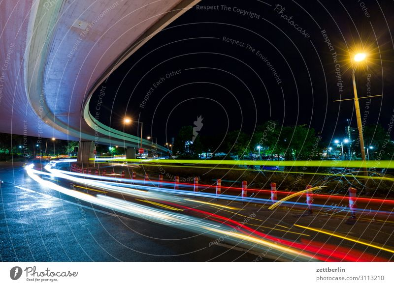 elevated road Evening Movement Multicoloured Dark Dynamics Fantasy Fantasy literature Glittering Airport Art Light Visual spectacle Light writing Light painting