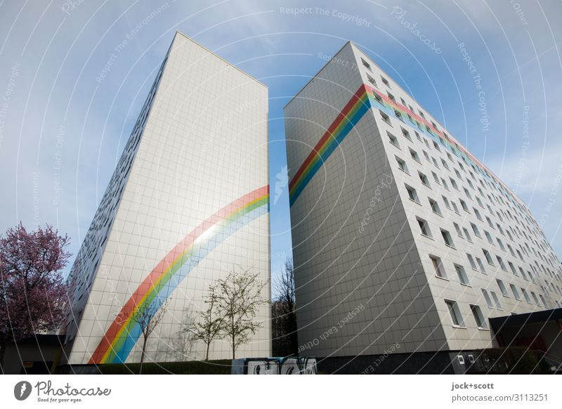 rainbow with sunshine Animal Sky Spring Beautiful weather Lichtenberg Town house (City: Block of flats) Prefab construction Fire wall Decoration Stripe Rainbow