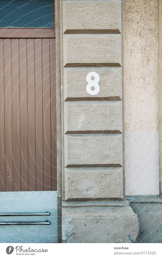 8 Eight Digits and numbers Numbers House number House (Residential Structure) Wall (building) Town City life Entrance Wall (barrier) Facade Door Domicile