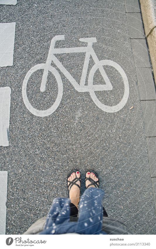 attention bicycle Bicycle Cycling Lanes & trails Cycle path Street Stand Woman feminine feet Pedestrian esteem Signs and labeling bicycle symbol Road user