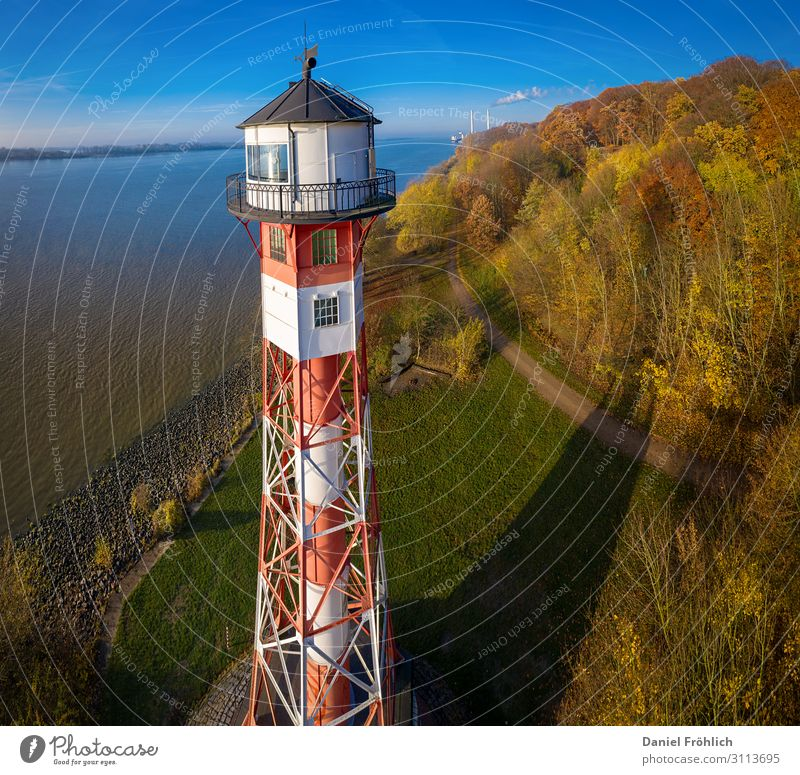 Lighthouse in Hamburg Tourism Trip Ocean Island Waves Nature Landscape Autumn Coast River bank Germany Manmade structures Architecture Navigation