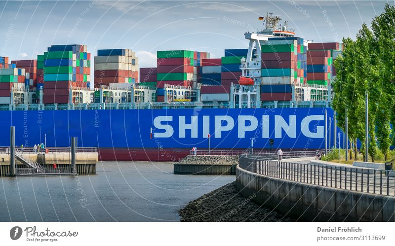 Container ship and people Human being Environment Nature Water River bank wag German Transport Means of transport Logistics Navigation Harbour Metal