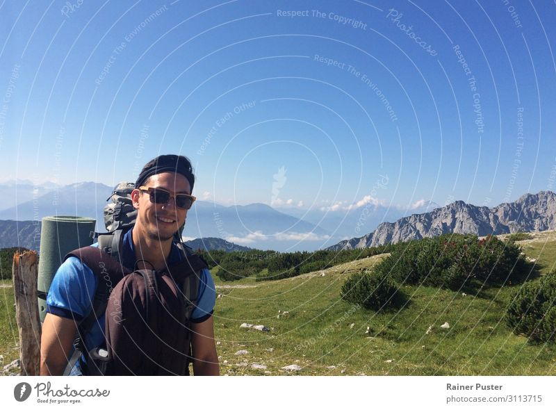 Hikers with Alps in the background Athletic Climbing Mountaineering Hiking Masculine Man Adults 1 Human being 30 - 45 years Cloudless sky Sun Peak Bad Tölz